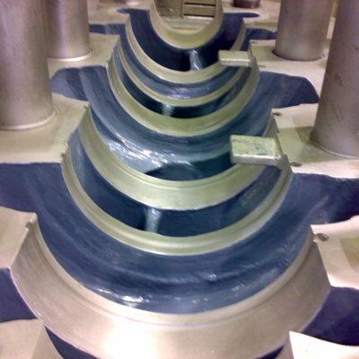 Wiederhergestellte und zum Schutz vor Erosion beschichtete Pumpe