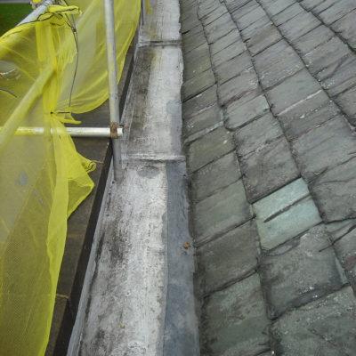 Mit Belzona 3111 (Flexible Membrane) reparierte Dachrinne