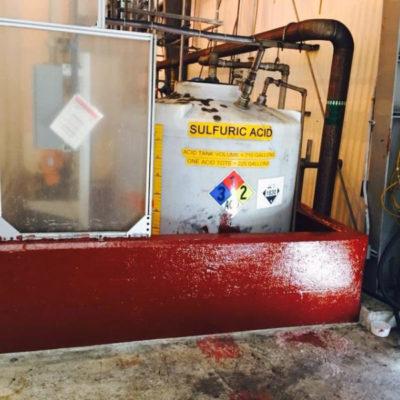 Chemikalien-Auffangbeckenwall geschützt mit Belzona 4361